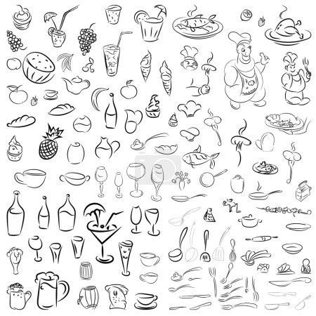 Photo pour Ensemble vectoriel de vaisselle, couverts, verres à vin, fruits, desserts, nourriture et boissons. Croquis pour restaurants, cafés et bars.Doodles cocktails et desserts, fruits, café, alcool, bar, boissons icônes . - image libre de droit
