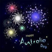 Šťastný den Austrálie s ohňostrojem na černém pozadí. Rádi ho