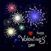 Šťastný Valentýn s fireworks. Nápisy ve složení