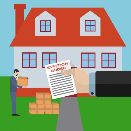 Illustration for Man being evicted from his home by big bank business holding eviction order vector concept - Royalty Free Image