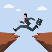 Man in business suit jumps from one rocky cliff to another overcoming obstacles in business vector concept