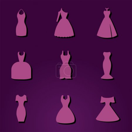 Different styles of dresses. Fon or icon...