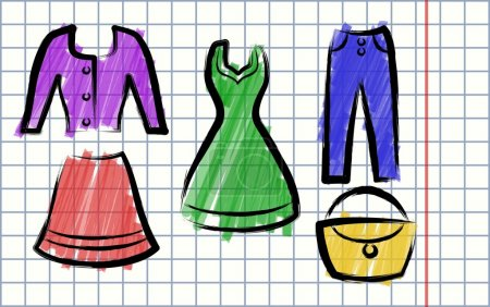 Illustration in the style of children's drawing Clothing