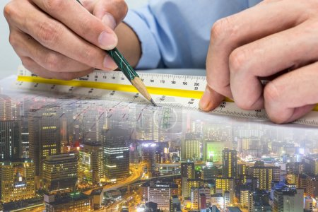 Engineer and drawing paper building whole world