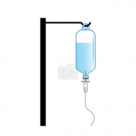 Saline solution bottle hanging on hanger pole