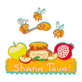 Rosh hashanah illustration Jewish new year cute background with symbols of holiday Cartoon vector art Isolated on white For Shana Tova greeting card web design page decoration