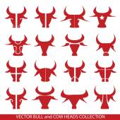 Bulls head vector set Collection of 14 Bull and Cow heads Bull sign design elements As sticker logo idea icons meat of cow beef label