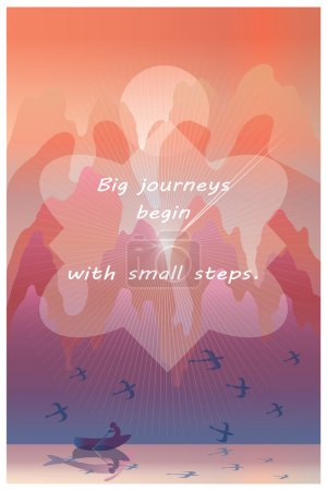 ig journeys begin with small steps -  inspirational quote on illustration of orient landscape with lake, traveler in boat, birds, mountains.Vertical wallpaper or poster. Vector illustration.