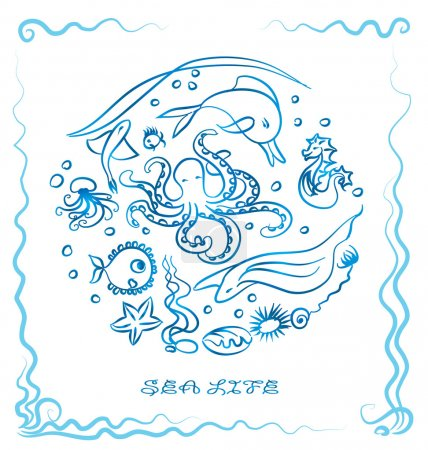 Sea life - ink paint sea animal vector illustration. Blue outline drawing - marine life. Graphic. Dolphin, octopus, jellyfish, seahorse, starfish. Delft blue, sea background, sea frame.