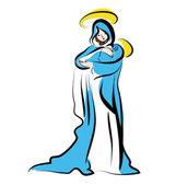 Virgin Mary with child on her arm - vector illustration The Madonna and ChildGraphicVirgin Mary and the Child Jesus  for Christmas