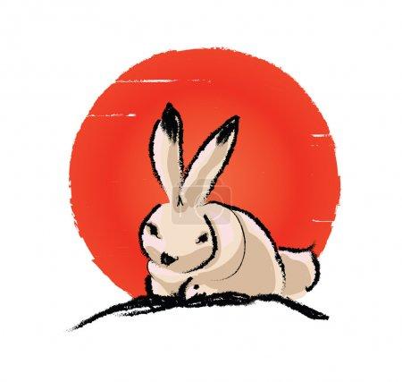 White hare and red moon - Mooncake concept - Moon rabbit vector illustration.  Traditional ink painting for Mid-Autumn Festival Chuseok.