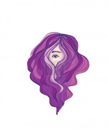 Beauty long purple hair hiding face
