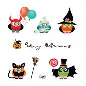 Vector set of cute Owls are dressed in costumes of devil witch vampire cat mummy Funny traditional cartoon characters of Halloween Set of Owl icons Happy Halloween design elements