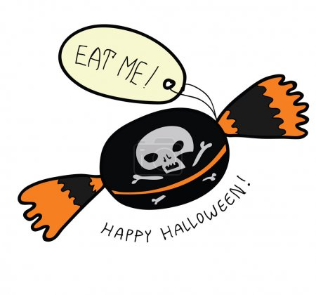 Eat me scull candy - retro cartoon Halloween character - funny trick or treat dessert with skull and label with text. Happy Halloween hand written text. Hand drawn illustration.