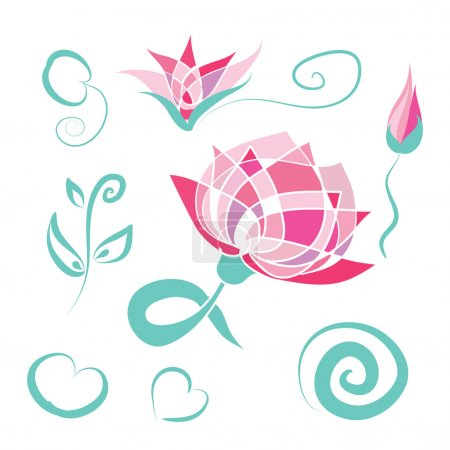 Illustration for Lotus floral set - pink lotus flowers, turquoise branches, leaves, swirls. Abstract lotus. Hand drawn vector elements for spa logo design, banner, invitation, card. Vector lotus Isolated on white. Eps 10. - Royalty Free Image