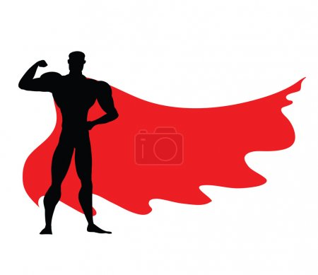Superhero icon - vector black Superhero silhouette wearing red cloak flying on wind. Superman with strong arm posing. Strong man as fitness sign, masculinity symbol, protection emblem.