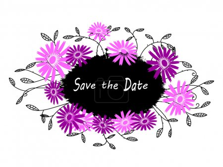 Grunge creative Save the Date card or print - calligraphy text on watercolor blotch with black branch with leaf and pink flowers around. Trendy flourish background for young. Vector design element.