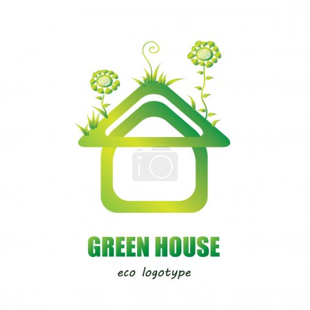 Green house vector logo - eco house icon/ green energy concept. Modern creative house shape with abstract flowers and grass on its roof. Garden house - plant home. Shiny green logotype/ emblem.