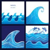 Sea Wave Ocean tsunami vector illustration - set of 4 water backgrounds Graphic waves and tropical island with palm trees Blue watercolor wave silhouette with stripes High Wave concept Eps 10