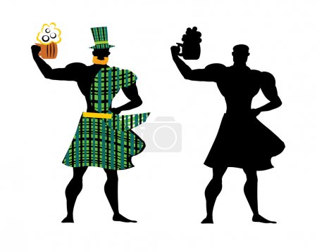 Man drink beer sign. Man with beer mug black silhouettes and dresssed in costime  - green hat, red beard, kilt, no face.  Man drinking beer set.