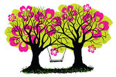 Swing between spring blossoming trees vector illustration Black trees and ground silhouettes hand drawn and huge pink flowers in crown Abstract old trees with swing in ink painting style EPS 10