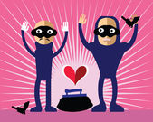 Robbers giving up. Vector illustration of Bad Guys steal heart concept - love, dating, danger, relationship subjects. Romantic thieves in mask on their faces hold hand up. Pink sunburst background.