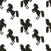 Vector seamless pattern with hand drawn silhouettes Pegasus and Unicorn In black and white colors