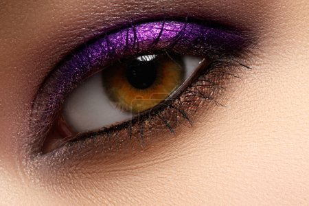 Photo for Purple shine make-up of woman eye. Woman eye with style violet and fashion make-up. Beautiful female face with bright purple fashion makeup - Royalty Free Image