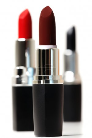 Photo for Set of color lipsticks. Red lipstick, black lipstick, wine lipstick isolated on white background - Royalty Free Image