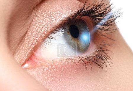 Laser vision correction. Woman's eye. Human eye. Woman eye with laser correction. Eyesight concept