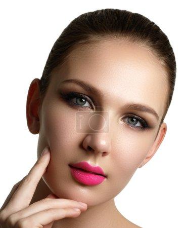 Mascara Applying. Long Lashes closeup. Mascara Brush. Eyelashes extensions. Makeup for Blue Eyes. Eye Make up Apply, pink lips