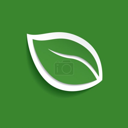 Illustration for Green vector leaf. Icon design - Royalty Free Image