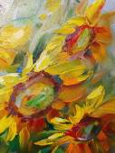 """Постер, картина, фотообои """"Текстуры живопись маслом, цветы, искусство, окрашены цветное изображение, краска"""""""