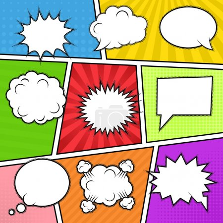 Illustration for Set of nine different comic elements at colorful comic strip background. Speech bubbles, emotion and actions frames. Isolated, vector eps 10. - Royalty Free Image