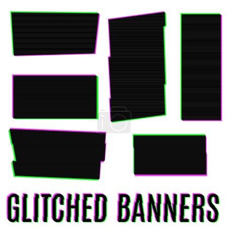 Ilustración de Conjunto de seis banderas glitched de diferentes formas - Imagen libre de derechos
