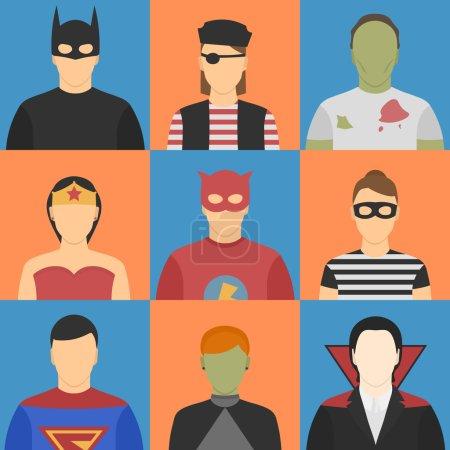 Illustration pour Neuf avatars d'Halloween. Cinq hommes, quatre femmes. Des costumes d'Halloween. Superhéros, zombie, sorcière, pirate, voleur, vampire . - image libre de droit
