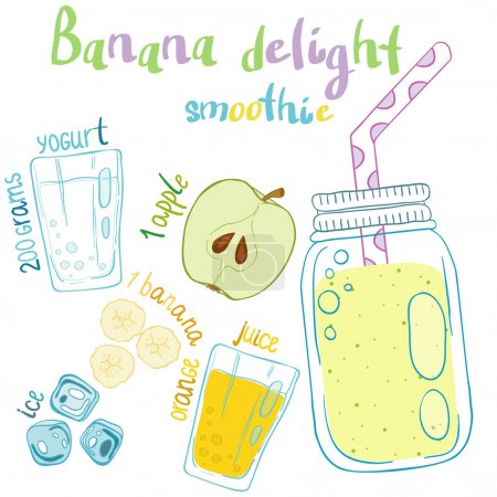 Recipe illustration smoothie (cocktail). Vector hand drawn illus