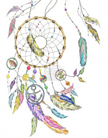 Illustration for Dreamcatcher wit colorful feathers, beads, items from the sea: shell, fishes, star, anchor, seashell. Vector file for any your project - Royalty Free Image