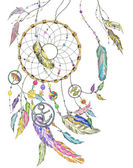 Dreamcatcher wit colorful feathers beads items from the sea: shell fishes star anchor seashell Vector file for any your project