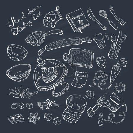 Illustration pour Articles de boulangerie doodle ensemble. Outils de cuisine dessinés à la main sur tableau . - image libre de droit