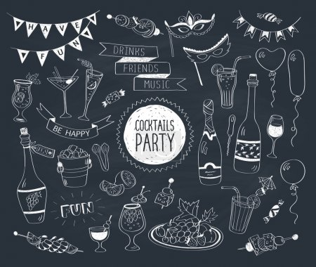 Illustration for Cocktails party doodle set. Hand drawn beverages icons isolated on white background. Doodle food and drinks. Beverages, glass, bottles, fruits, snacks, masks. - Royalty Free Image