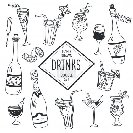 Illustration pour Boissons doodle ensemble. Icônes de cocktails dessinés à la main isolés sur fond blanc. Doodle collection de boissons. Bouteilles, verre, cocktails. Eau, vin et jus . - image libre de droit