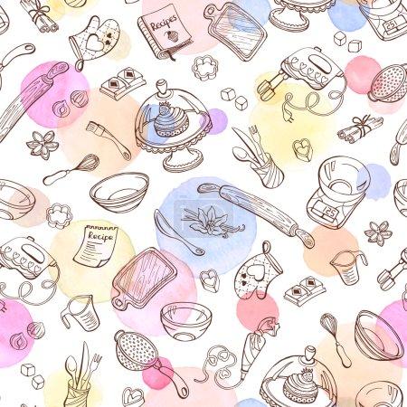 Illustration pour Fond doodle cuisson. Modèle vectoriel sans couture avec des outils de cuisine. Ustensiles de cuisson dessinés à la main. Outils de cuisson avec des taches d'aquarelle sur le fond . - image libre de droit