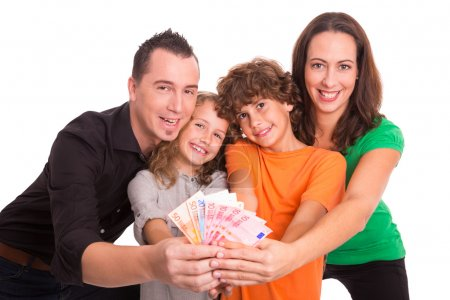 Young family with money in their hands