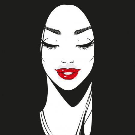 Close up face, black and white graphic drawn smiling girl portrait with long eyelashes and beautiful line of eyebrows, bright red lipstick, or lip gloss and long black hair, eyes closed, vector