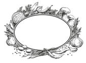 Center oval frame empty for text around it are located spices herbs condiments and vegetables strokes and black lines hand drawing on chalkboard for menu design restaurants cafes bistros vector white background
