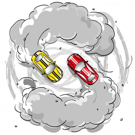 Two racing cars in a skid on the spread smoke is in turn at speed on the road leaving traces of the tire tread on the pavement, hobbies competition drifting extreme sports, isolated vector