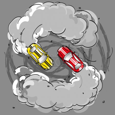 Two racing cars in a skid on the spread smoke is in turn at speed on the road leaving traces of the tire tread on the pavement, hobbies competition drifting extreme sports, vector on a gray background