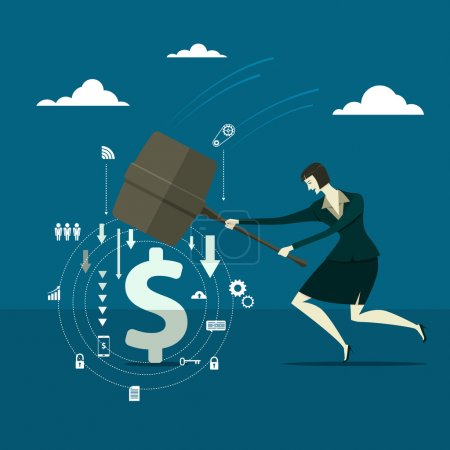 Young pretty woman holding a big hammer and smashes on the blue background. Business concept Vector illustration.