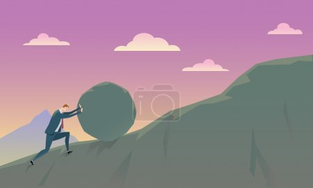 Illustration for Business Concept of Conquering Adversity businessman pushing a rock uphill. Vector Illustration. - Royalty Free Image